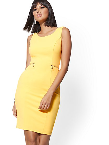 Zip-Accent Sheath Dress - Magic Crepe - New York & Company