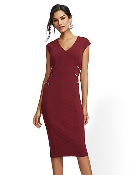 Zip-Accent V-Neck Sheath Dress - 7th Avenue - New York   Company ... 22c6d06f1