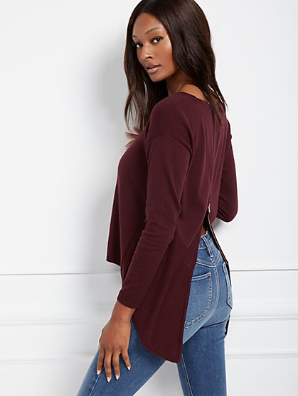 Zip-Back Sweater - New York & Company