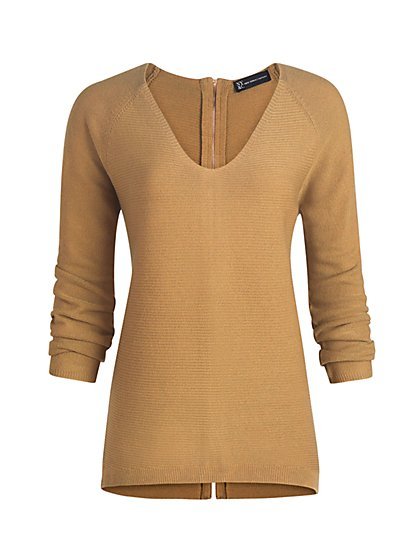 Zip-Back V-Neck Sweater - New York & Company