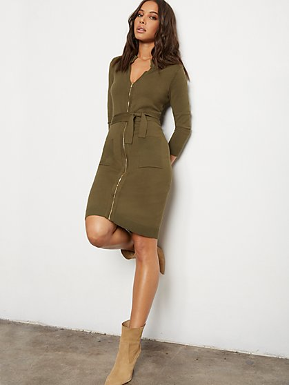 Zip-Front Belted Sweater Sheath Dress - 7th Avenue - New York & Company