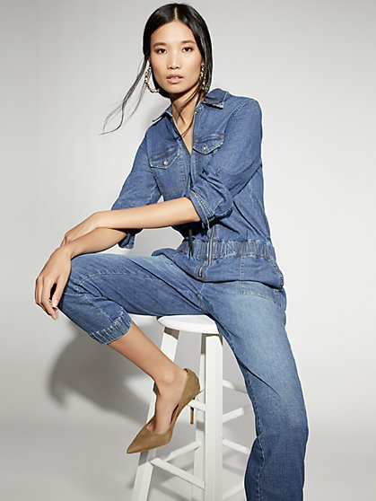 Zip-Front Denim Jumpsuit - Gabrielle Union Collection - New York & Company