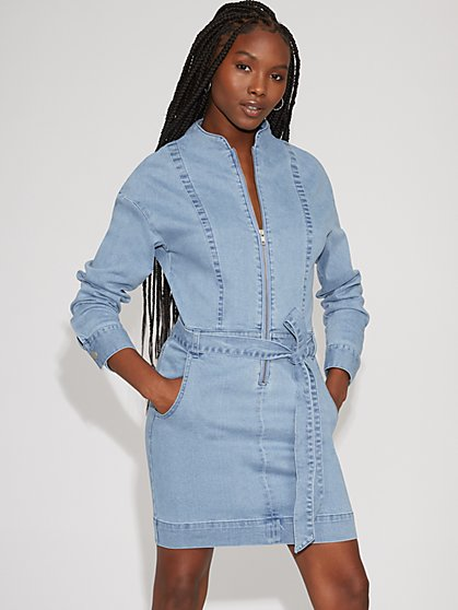 Zip-Front Denim Shirtdress - Gabrielle Union Collection - New York & Company