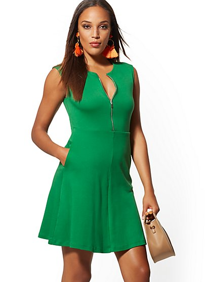 Zip-Front Fit and Flare Cotton Dress - New York & Company