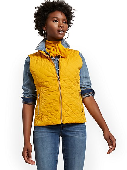 Zip-Front Quilted Vest - New York & Company