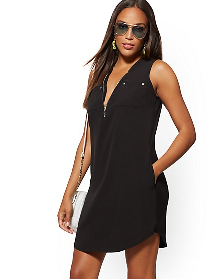 Zip-Front Shirt Dress - New York & Company