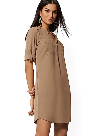 Zip-Front Shirtdress - New York & Company