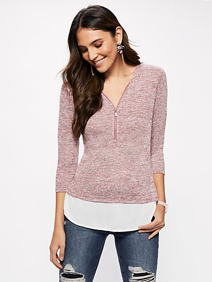 Zip-Front Twofer Top - New York & Company