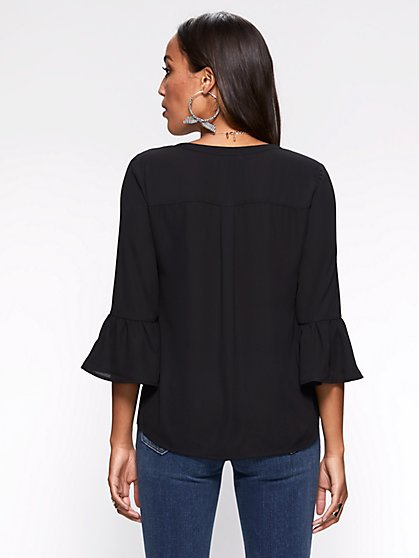 f95ab6688d ... Zip-Front V-Neck Blouse - New York   Company ...