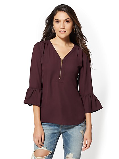 Zip-Front V-Neck Blouse - New York & Company