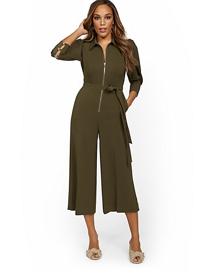 Zip-Front Wide-Leg Jumpsuit - New York & Company