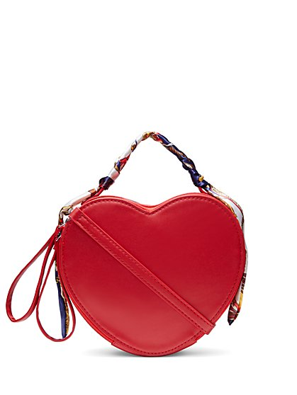 Zip-Top Heart Crossbody Bag - New York & Company